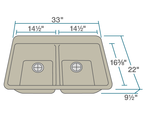 "The dimensions of T802-Slate Double Equal Bowl Topmount TruGranite Sink is 33"" x 22"" x 9 1/2"". Its minimum cabinet size is 33""."