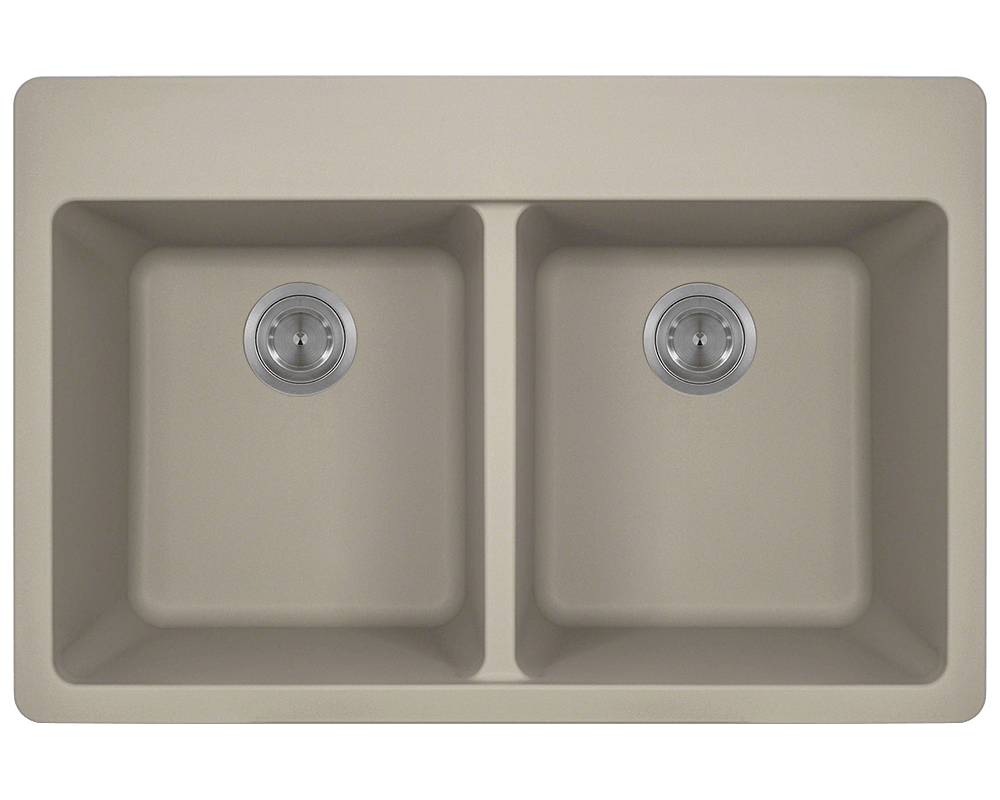 MR Direct T802-Slate Double Equal Bowl Topmount TruGranite Sink