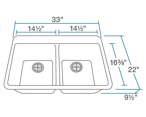 "The dimensions of T802-White Double Equal Bowl Topmount TruGranite Sink is 33"" x 22"" x 9 1/2"". Its minimum cabinet size is 33""."
