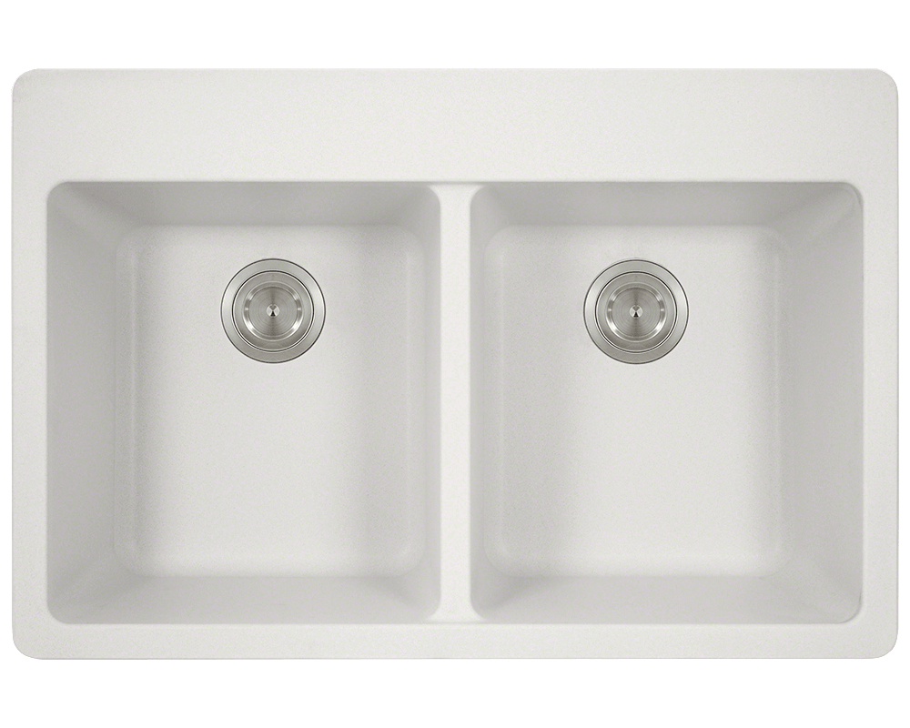 MR Direct T802-White Double Equal Bowl Topmount TruGranite Sink