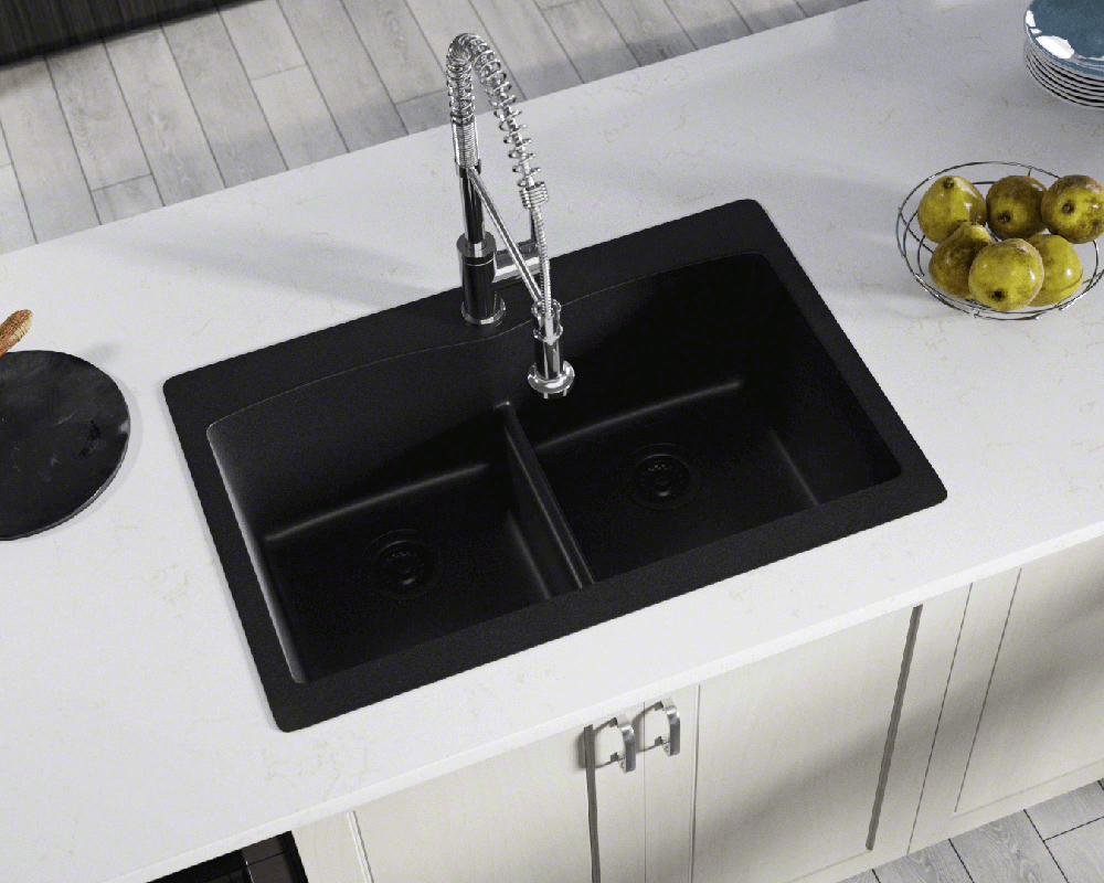 T812 Black Double Equal Bowl Low Divide Topmount Trugranite Sink
