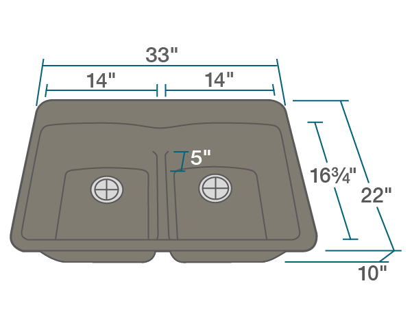 "The dimensions of T812-Mocha Double Equal Bowl Low-Divide Topmount TruGranite Sink is 33"" x 22"" x 10 3/4"". Its minimum cabinet size is 33""."