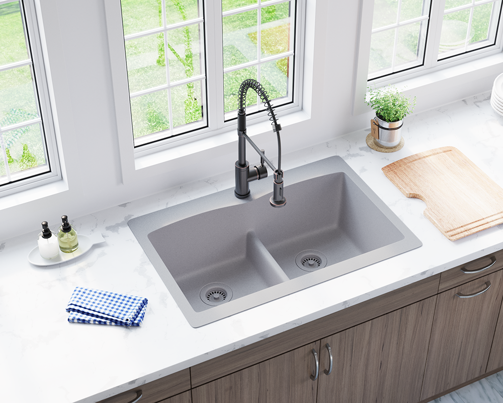 T812-Silver Lifestyle Image: 80% Quartz 20% Acrylic Rectangle Topmount Silver Kitchen Sink