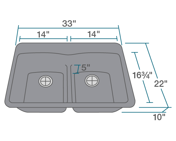 "The dimensions of T812-Silver Double Equal Bowl Low-Divide Topmount TruGranite Sink is 33"" x 22"" x 10 3/4"". Its minimum cabinet size is 33""."