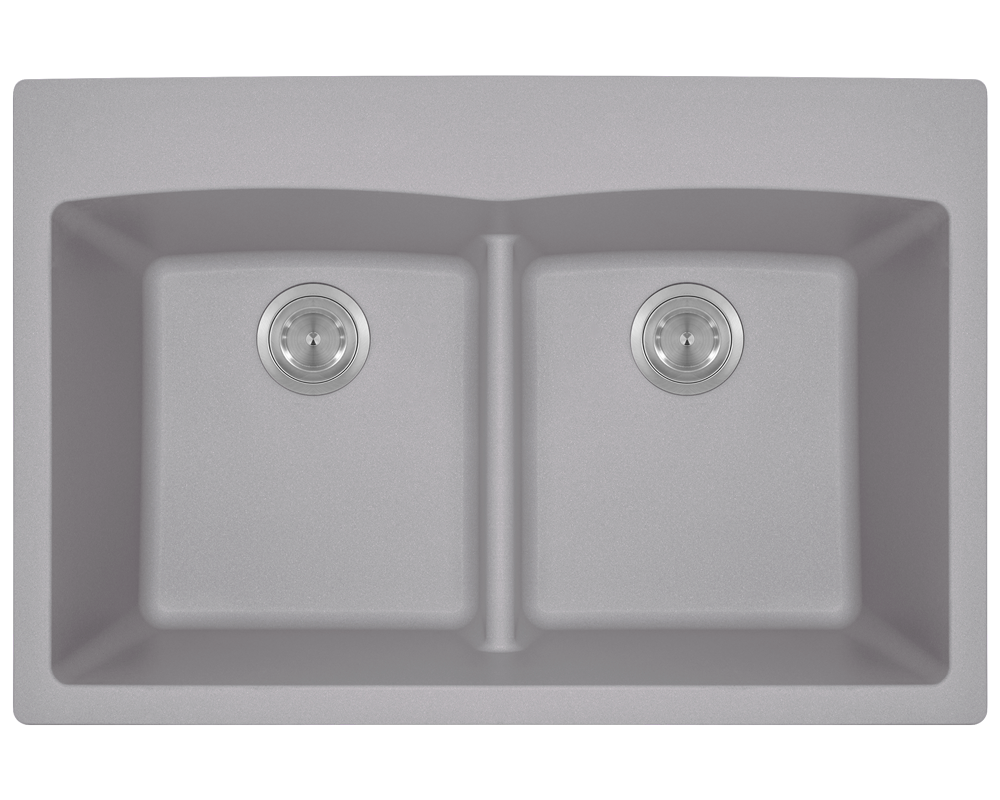 MR Direct T812-Silver Double Equal Bowl Low-Divide Topmount TruGranite Sink