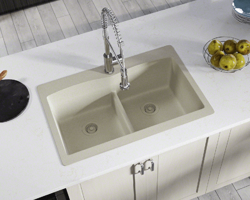 T812-Slate Double Equal Bowl Low-Divide Topmount TruGranite Sink