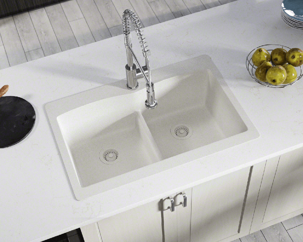T812 White Double Equal Bowl Low Divide Topmount Trugranite Sink