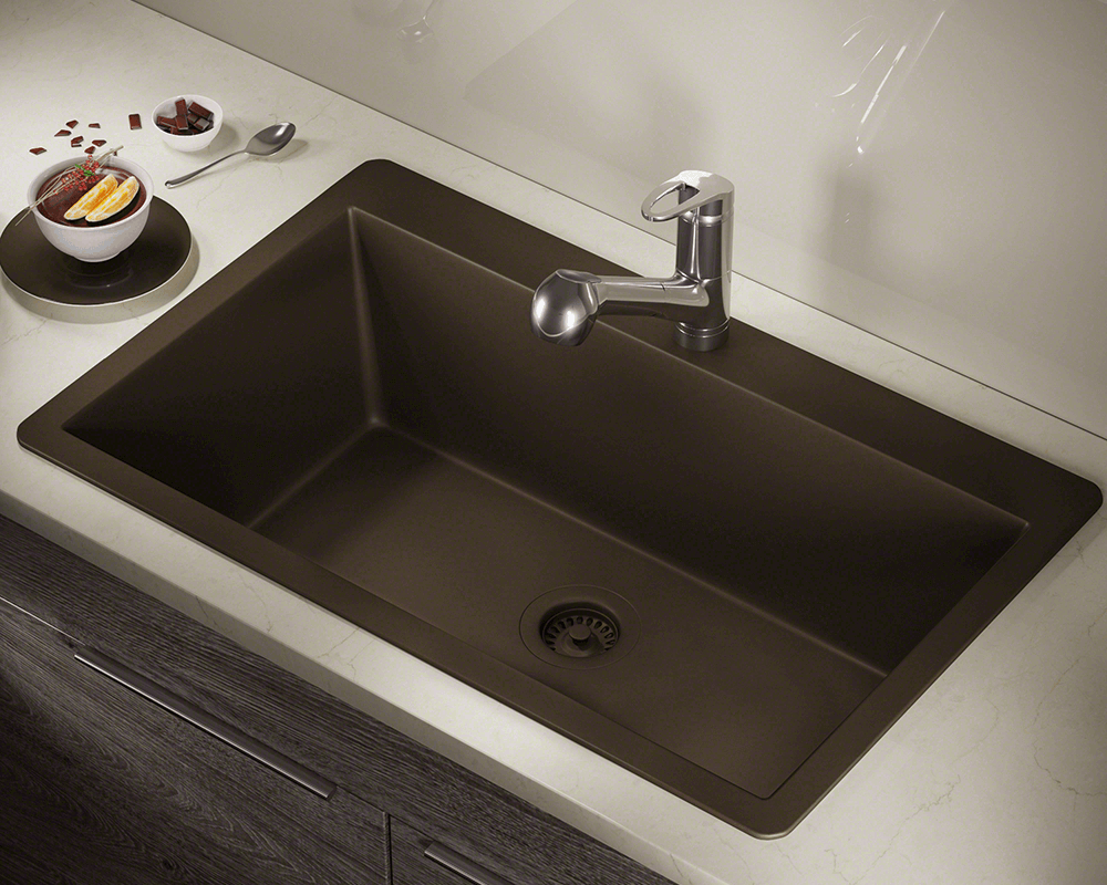 T848 Mocha Large Single Bowl Topmount Trugranite Sink
