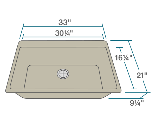 "The dimensions of T848-Slate Large Single Bowl Topmount TruGranite Sink is 33"" x 21"" x 9 1/4"". Its minimum cabinet size is 33""."