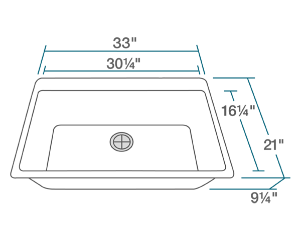 "The dimensions of T848-White Large Single Bowl Topmount Quartz Granite Sink is 33"" x 21"" x 9 1/4"". Its minimum cabinet size is 33""."