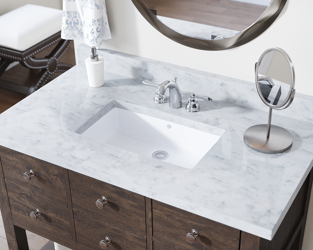 U1812 White Rectangular Bathroom Sink
