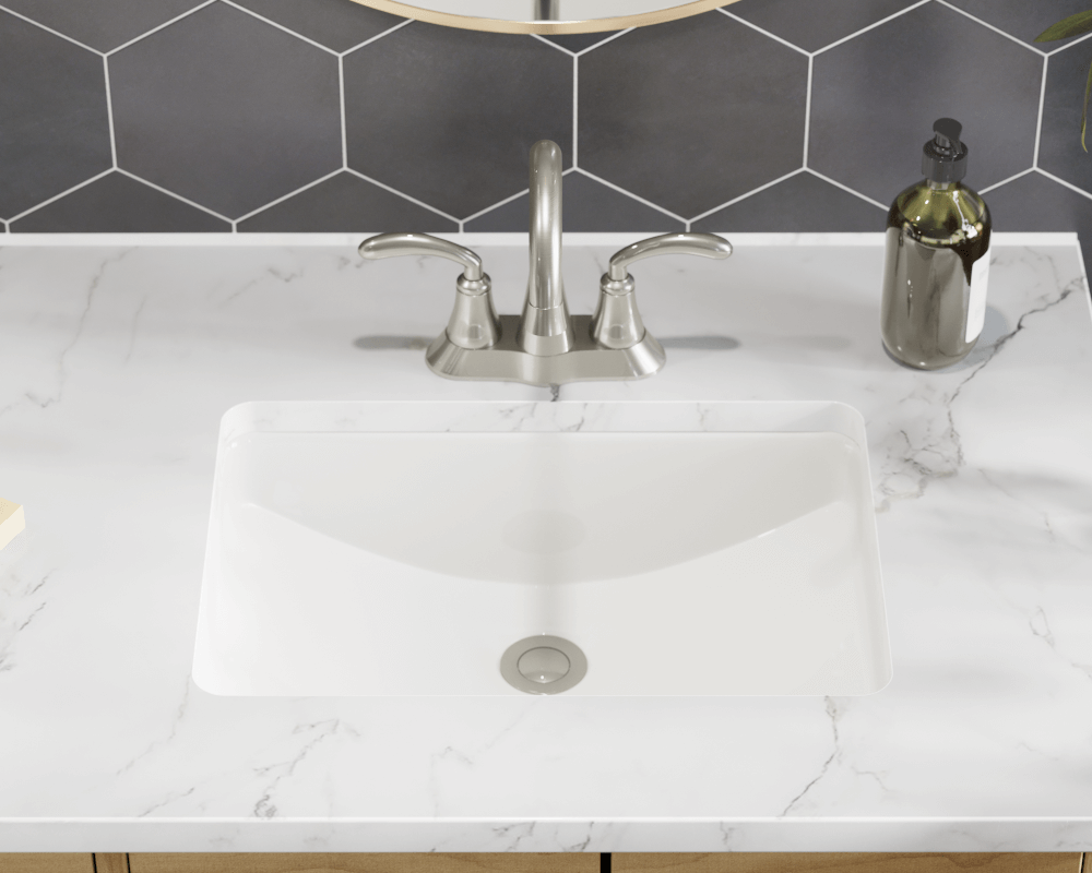 U1913-Bisque Lifestyle Image: Vitreous China Rectangle Undermount Bisque Bathroom Sink