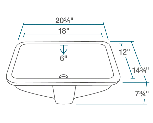 "The dimensions of U1913-Bisque Rectangular Porcelain Sink is 20 3/4"" x 14 3/4"" x 7 3/4"". Its minimum cabinet size is 24""."