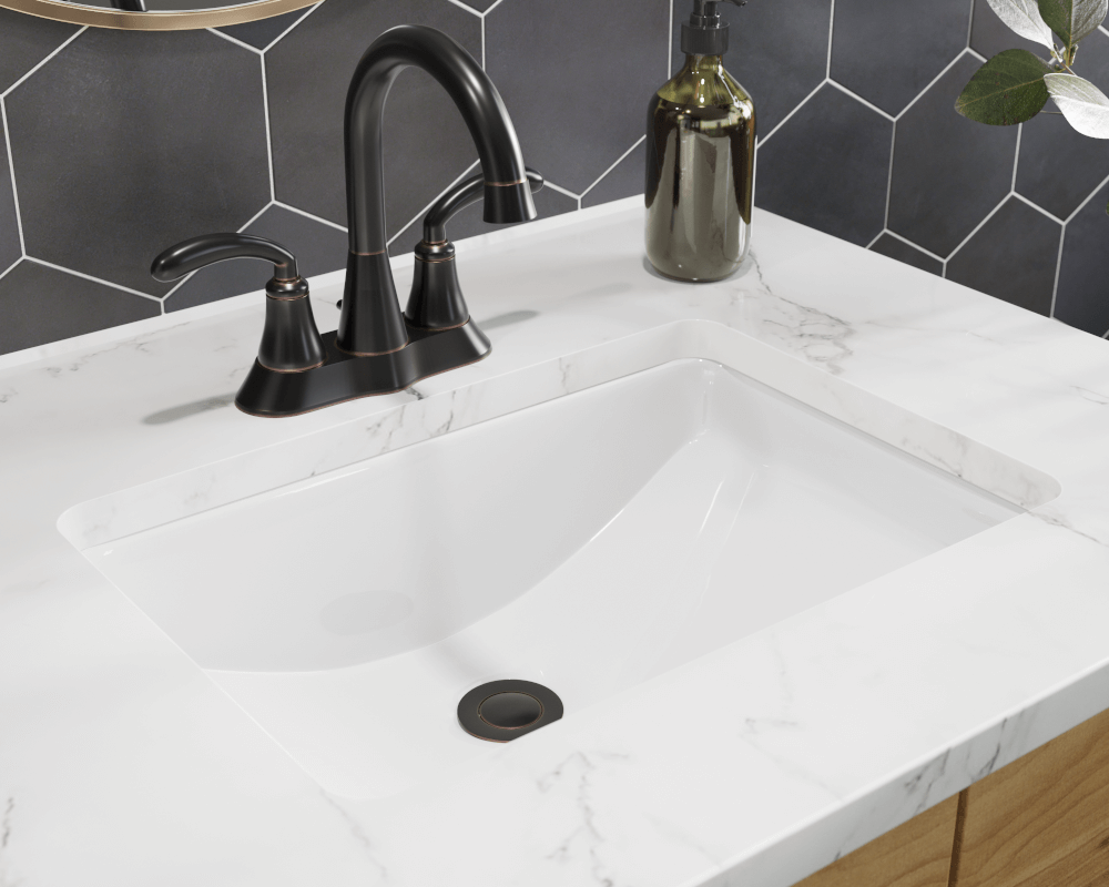 U1913-White White Rectangular Porcelain Sink
