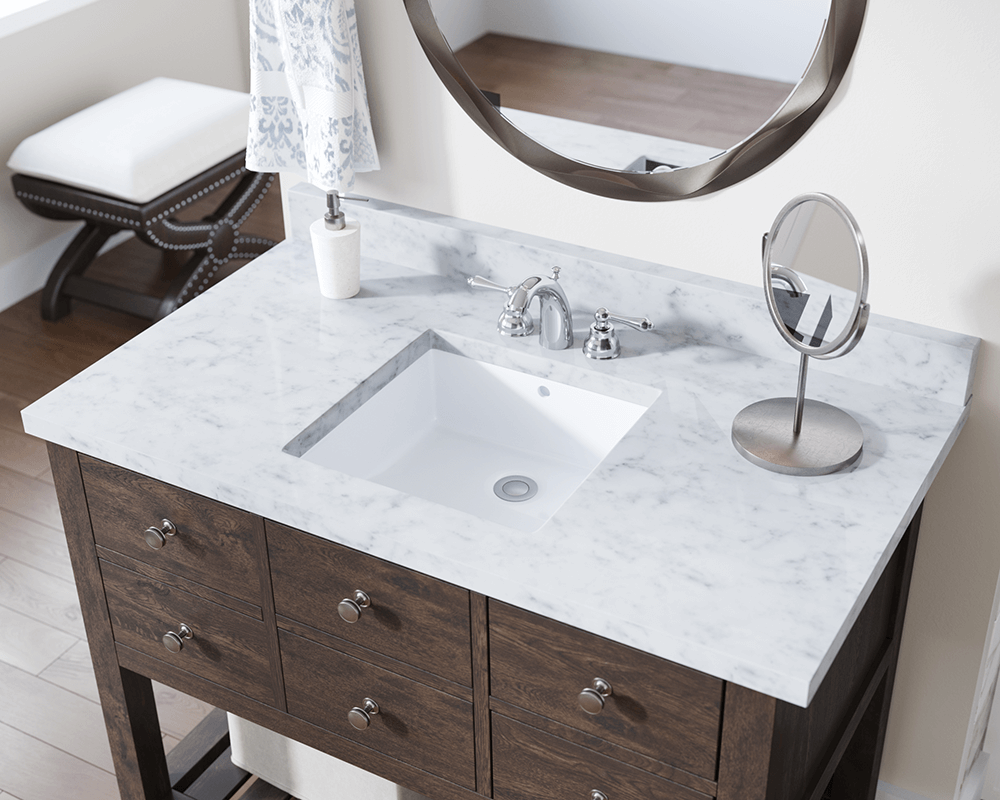 U2230-White Lifestyle Image: Vitreous China Undermount Square White Bathroom Sink