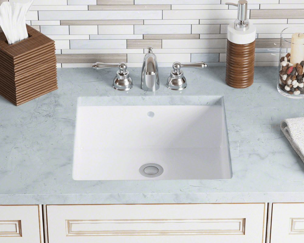 U2230-White Lifestyle Image: Vitreous China Square White Undermount Bathroom Sink