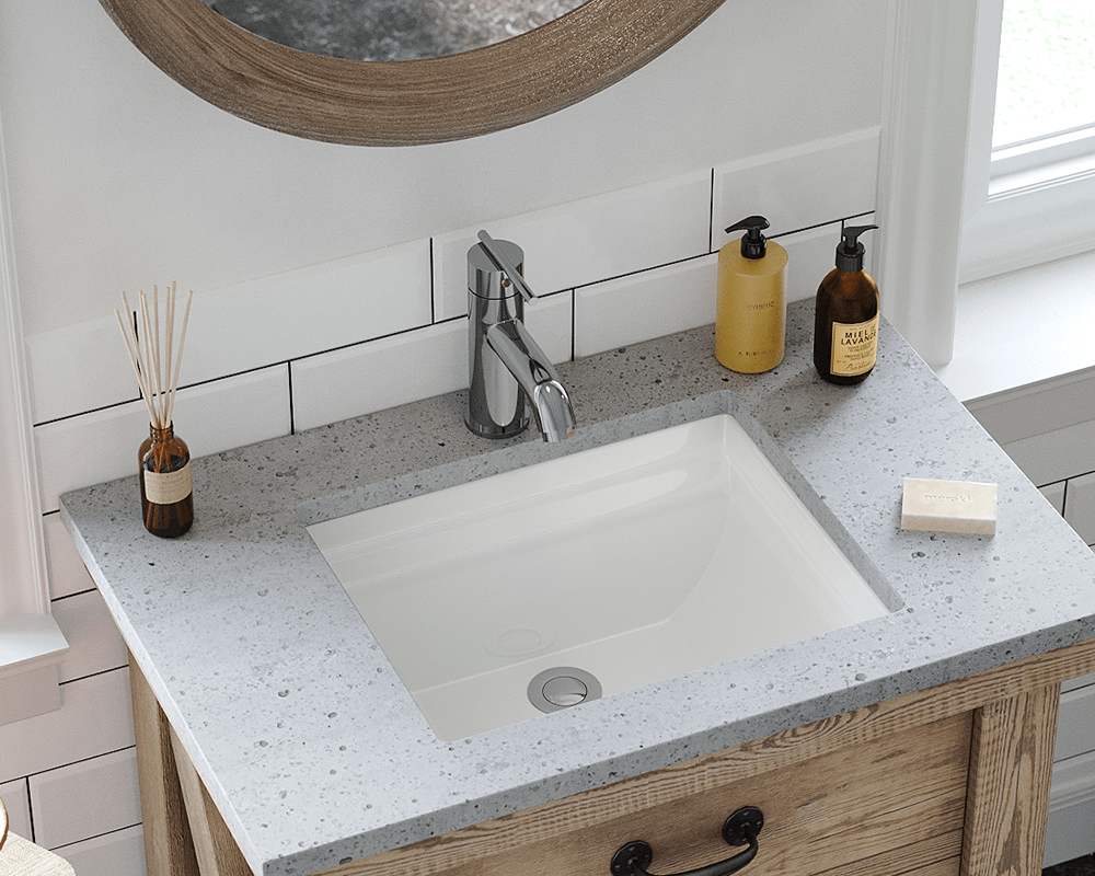U2450-Bisque Lifestyle Image: Vitreous China Undermount Bisque Rectangle Bathroom Sink