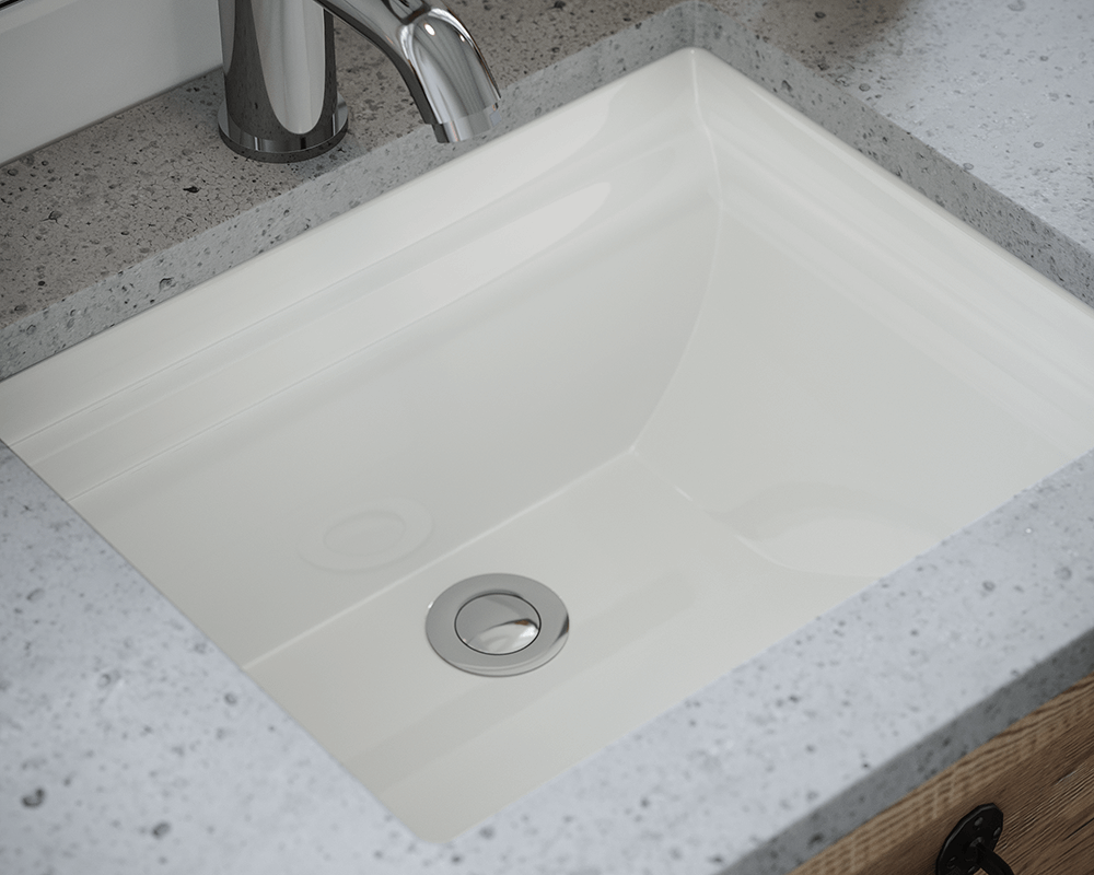 U2450-Bisque Lifestyle Image: Vitreous China Rectangle Undermount Bisque Bathroom Sink