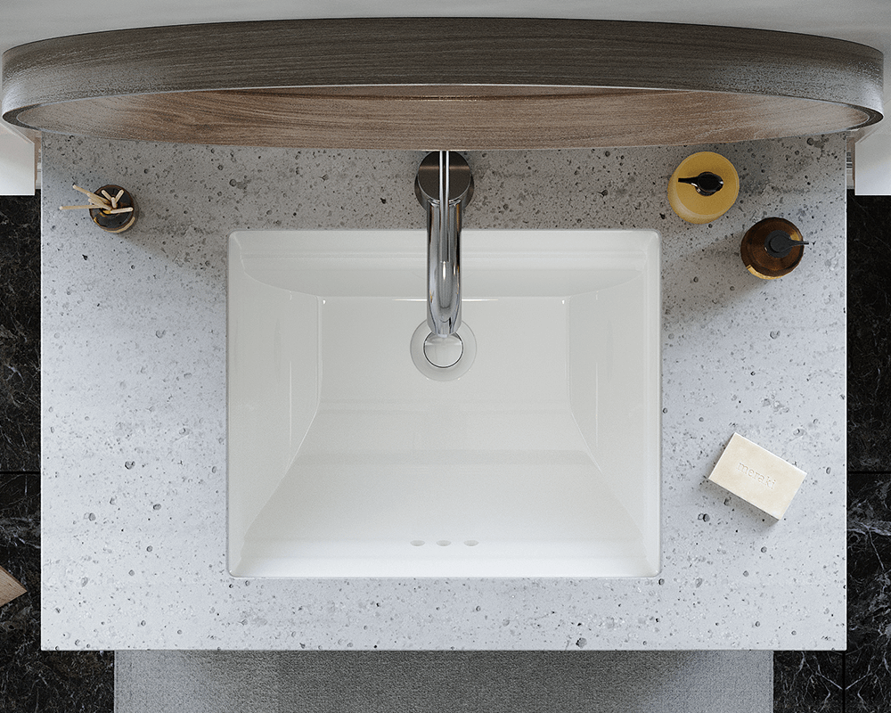 U2450-Bisque Lifestyle Image: Vitreous China Rectangle Bisque Undermount Bathroom Sink