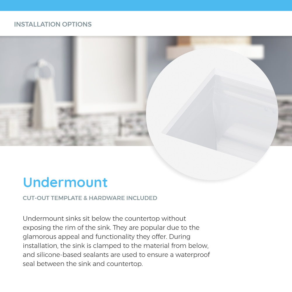 Undermount porcelain sink in white countertop