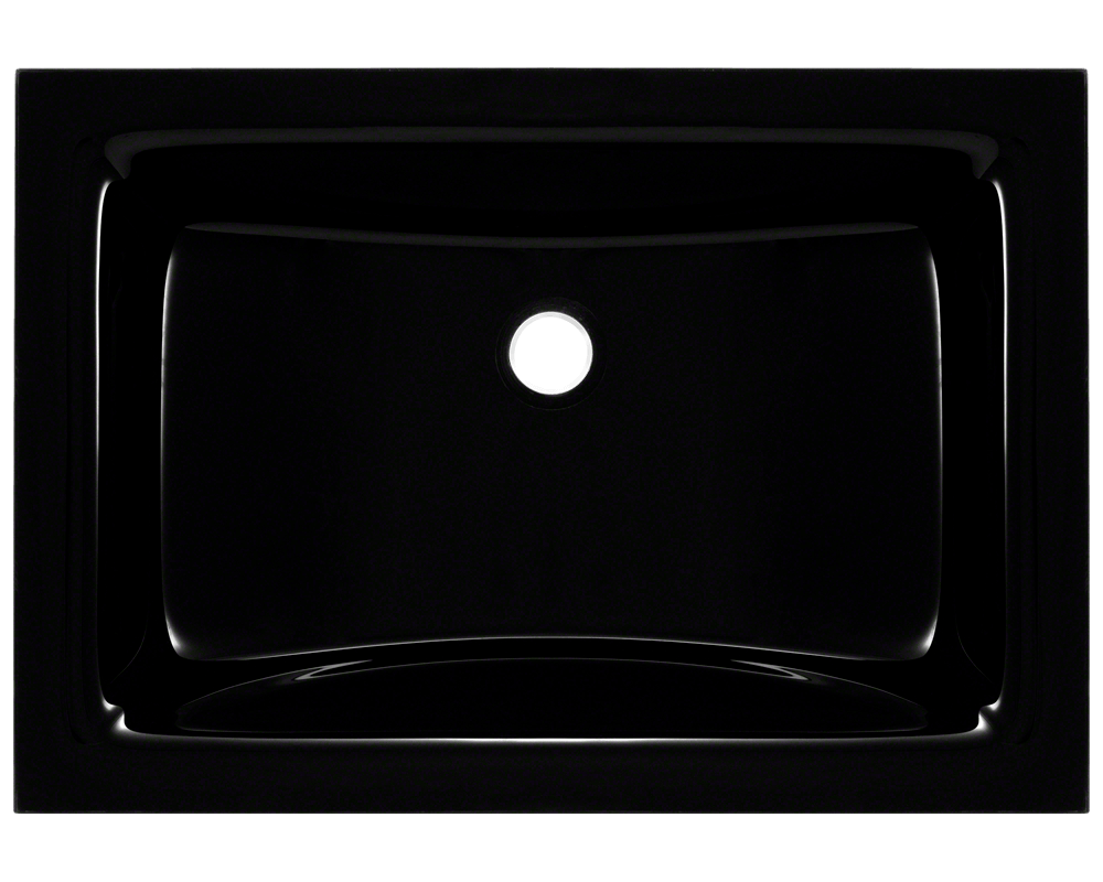 MR Direct UG1913-Black Undermount Rectangular Glass Sink