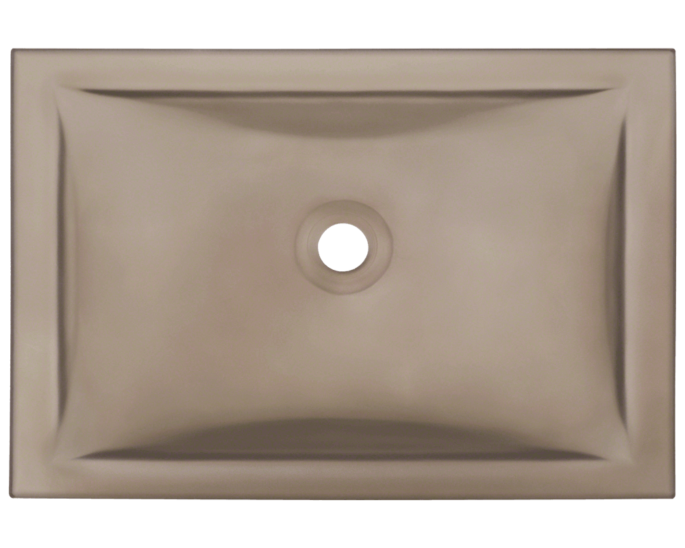 MR Direct UG1913-Taupe Undermount Rectangular Glass Sink