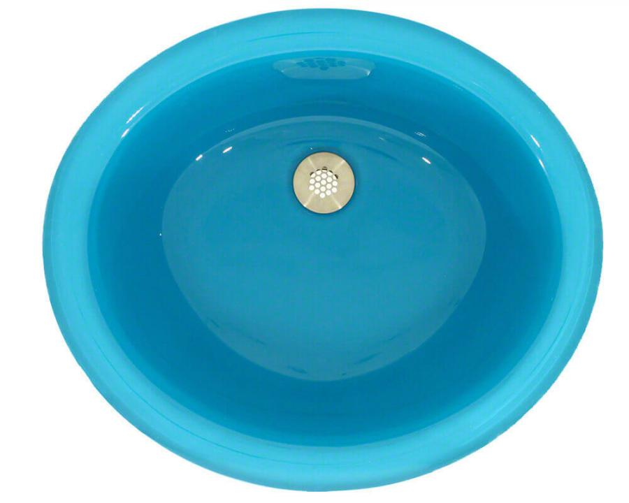 Ugm Turquoise Undermount Glass Bathroom Sink