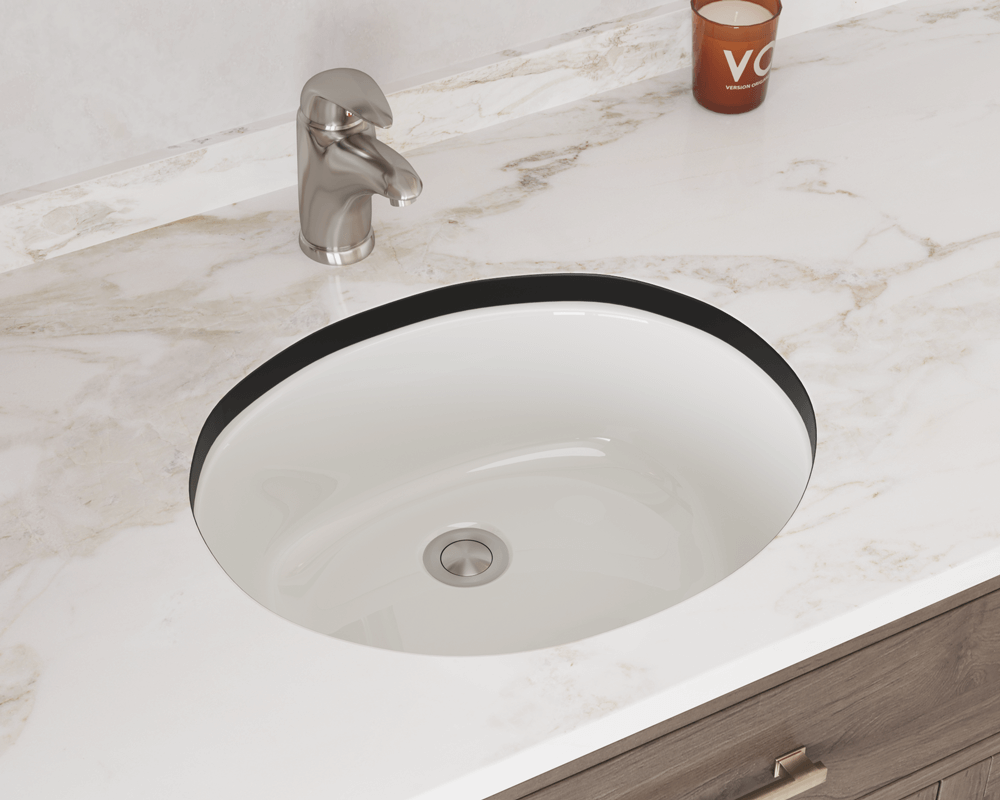 UPMB-SLBL Lifestyle Image: Vitreous China Undermount to Laminate Oval Bisque Bathroom Sink