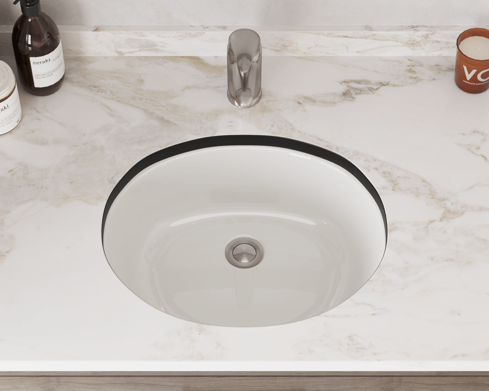 UPMB-SLBL Lifestyle Image: Vitreous China Oval Undermount to Laminate Bisque Bathroom Sink