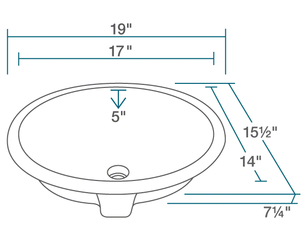 "The dimensions of UPMW-SLBL Porcelain Bathroom Sink with Black SinkLink is 19"" x 15 1/2"" x 7 1/4"". Its minimum cabinet size is 21""."