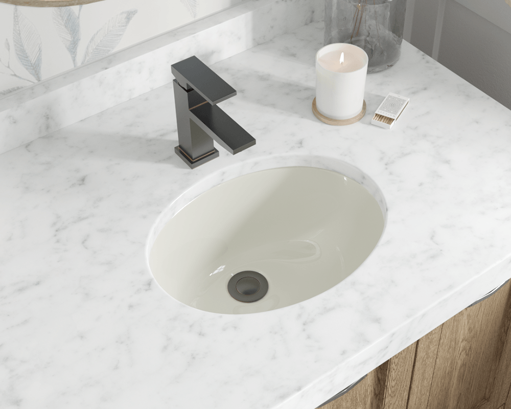 MRDirect Porcelain Oval Undermount Bathroom Sink with Overflow Sink Finish:  Bisque, Drain Finish: Chrome