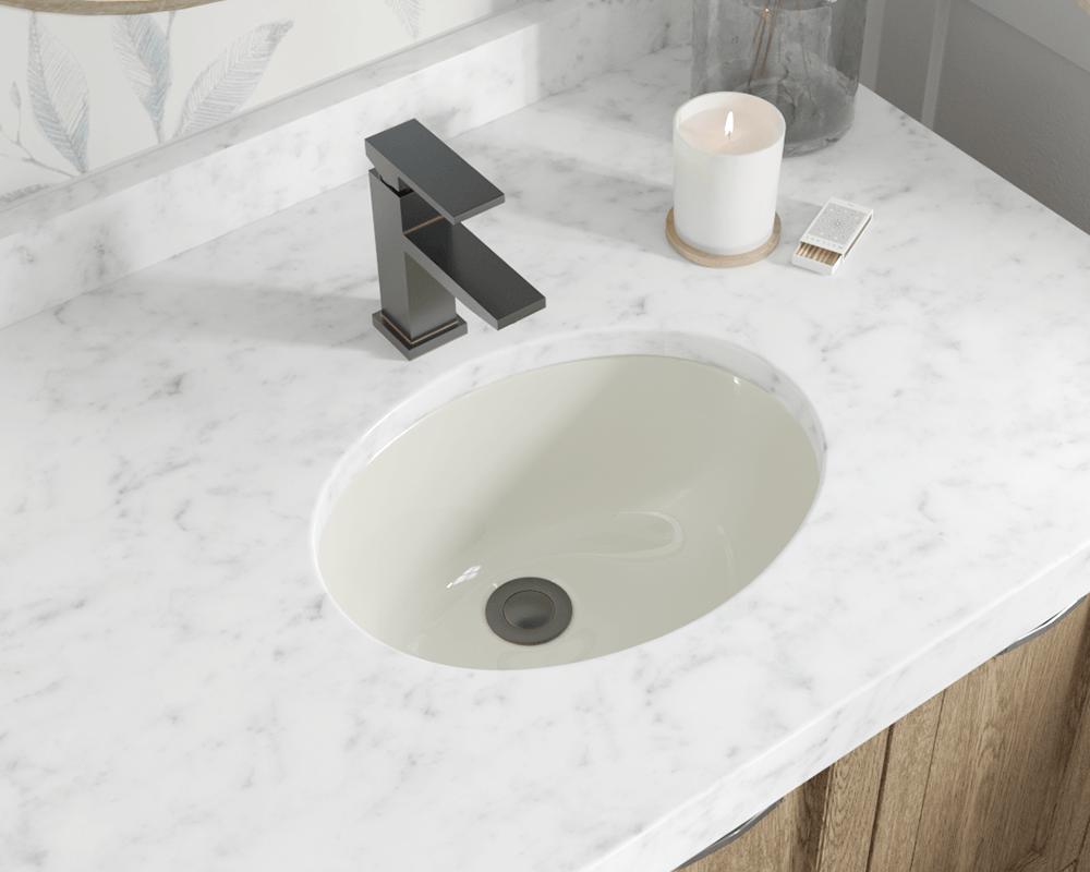 Ups Bisque Porcelain Bathroom Sink