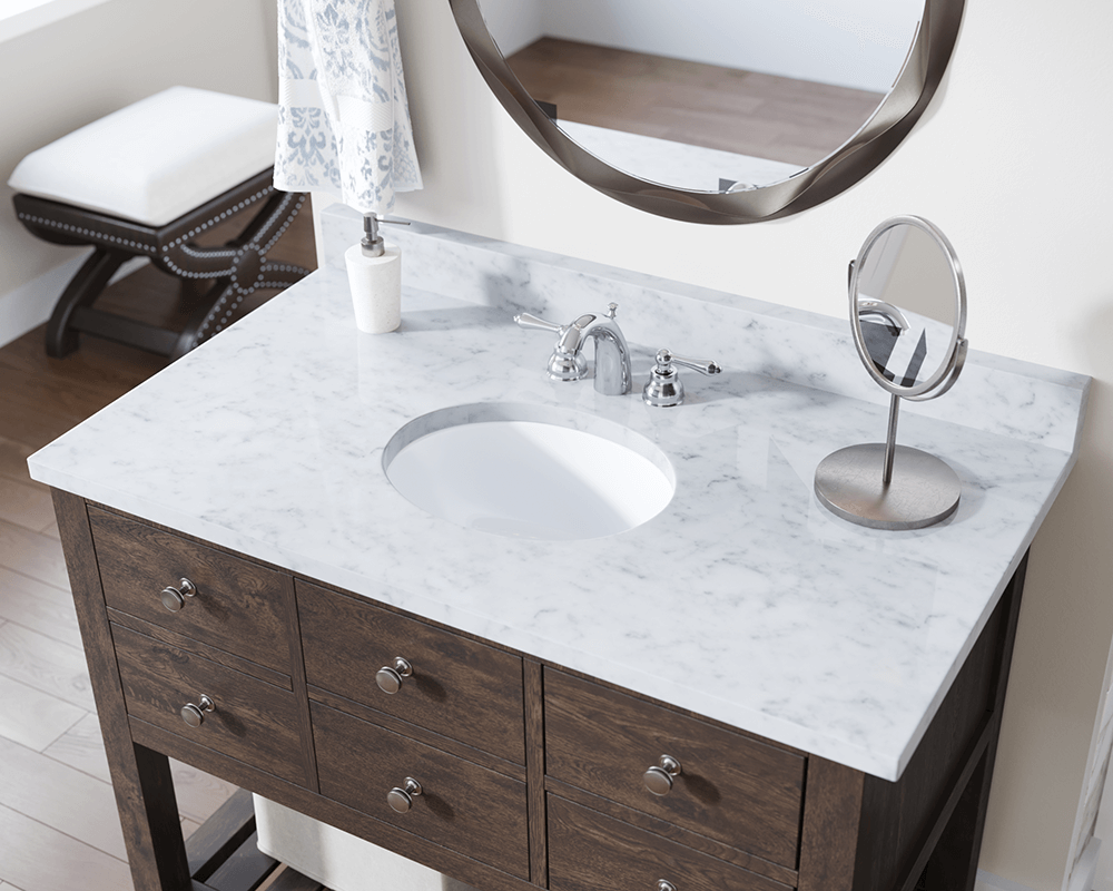 UPS-White Lifestyle Image: Vitreous China Undermount Oval White Bathroom Sink