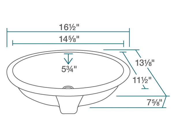"The dimensions of UPS-White Porcelain Bathroom Sink is 16 1/2"" x 13 1/8"" x 7 5/8"". Its minimum cabinet size is 18""."