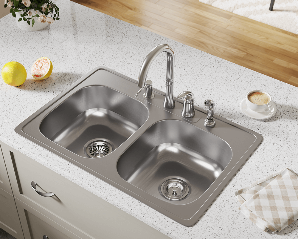 topmount kitchen sinks us1022t topmount equal bowl stainless steel sink 2867