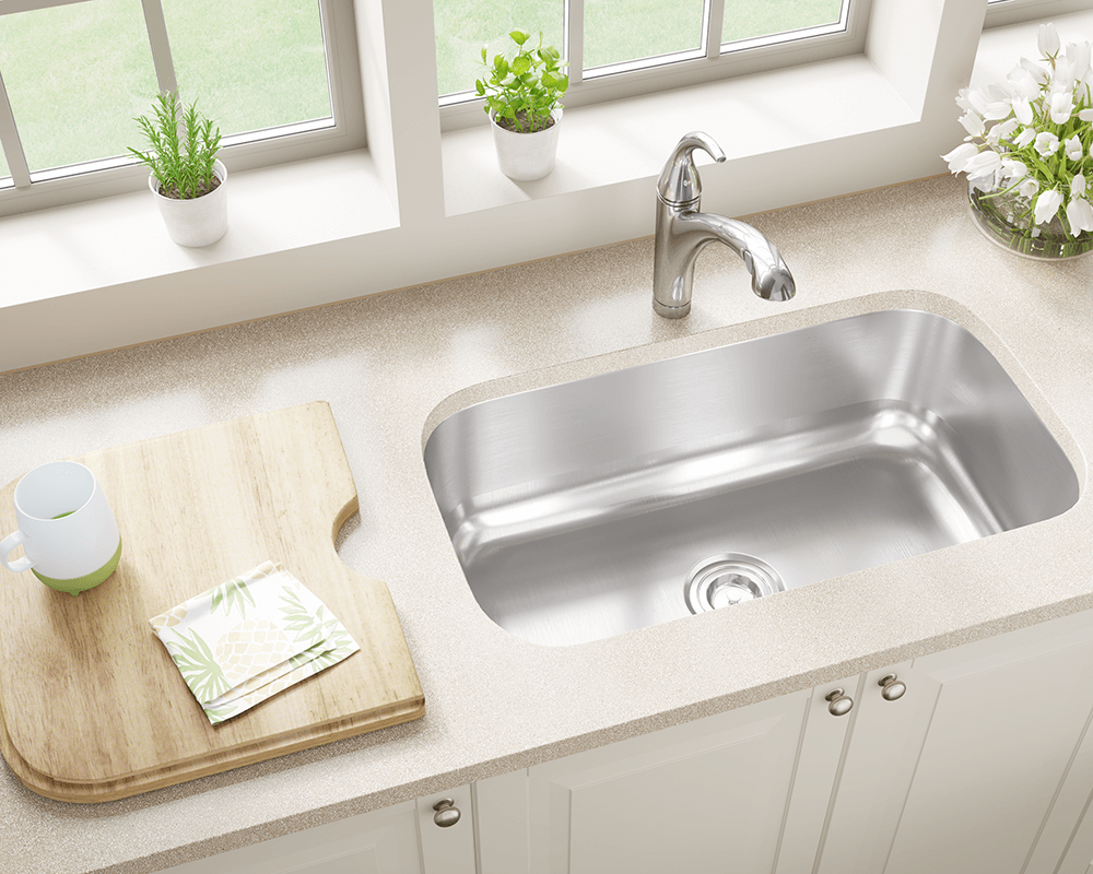 US1030 Lifestyle Image: 300-Grade Stainless Steel Rectangle One Bowl Undermount Kitchen Sink