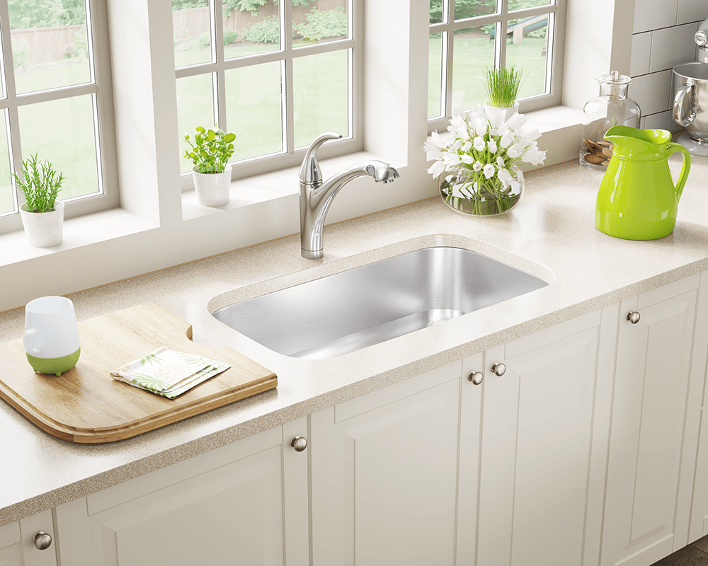 US1030 Lifestyle Image: 300-Grade Stainless Steel Rectangle Undermount One Bowl Kitchen Sink