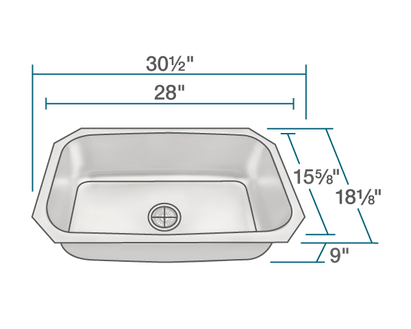 "The dimensions of US1030 Stainless Steel Kitchen Sink is 30 1/2"" x 18 1/8"" x 9"". Its minimum cabinet size is 33""."
