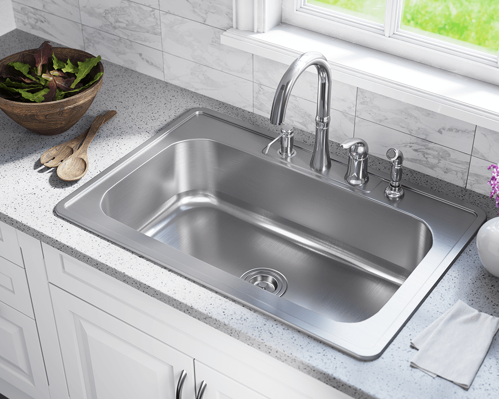 US1030T Lifestyle Image: 300-Grade Stainless Steel Rectangle One Bowl Topmount Kitchen Sink