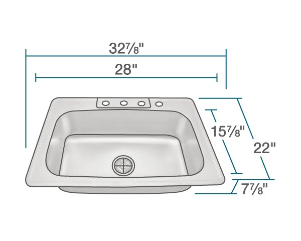 "The dimensions of US1030T Single Bowl Topmount Stainless Steel Sink is 32 7/8"" x 22"" x 7 7/8"". Its minimum cabinet size is 36""."