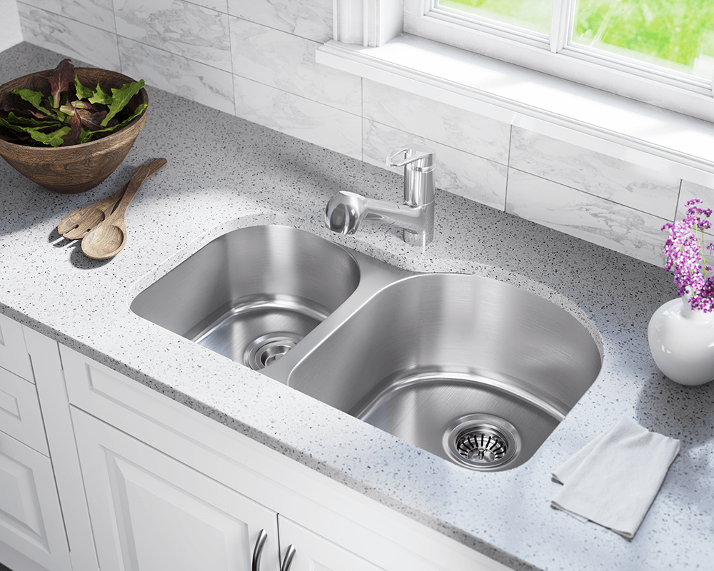 US1031R Lifestyle Image: 300-Grade Stainless Steel Rectangle Undermount Two Bowls Kitchen Sink