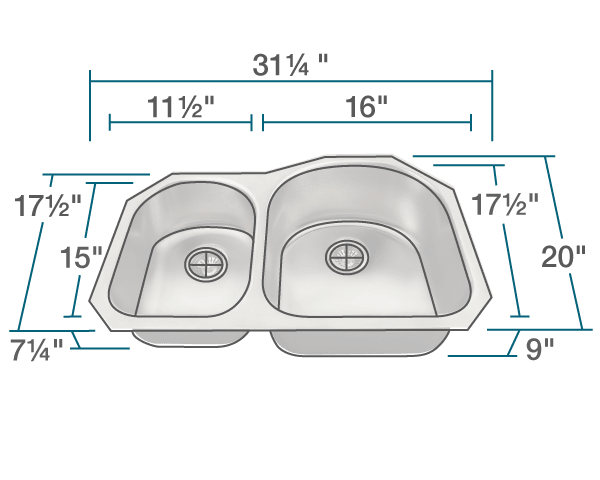 "The dimensions of US1031R Stainless Steel Kitchen Sink is 31 1/4"" x 20"" x 9"". Its minimum cabinet size is 33""."