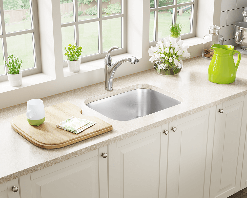 US1038 Lifestyle Image: 300-Grade Stainless Steel Rectangle Undermount One Bowl Kitchen Sink