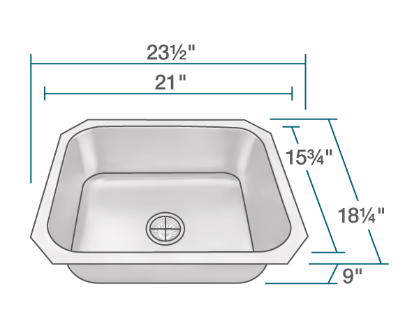 "The dimensions of US1038 Single Bowl Stainless Steel Kitchen Sink is 23 1/2"" x 18 1/4"" x 9"". Its minimum cabinet size is 24""."