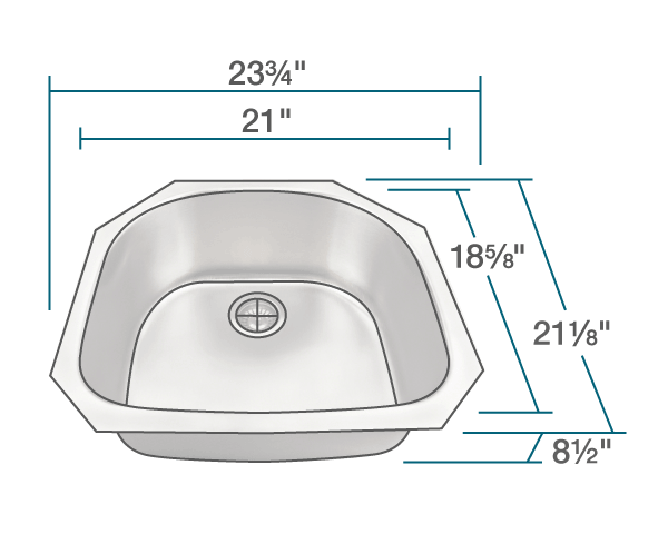 "The dimensions of US1042 D-Bowl Stainless Steel Kitchen Sink is 23 3/4"" x 21 1/8"" x 8 1/2"". Its minimum cabinet size is 24""."