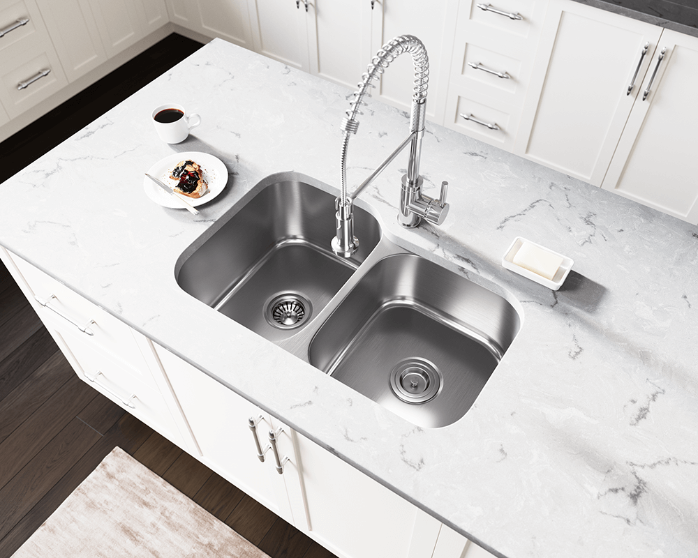 US1053L Lifestyle Image: 300-Grade Stainless Steel Rectangle Two Bowls Undermount Kitchen Sink