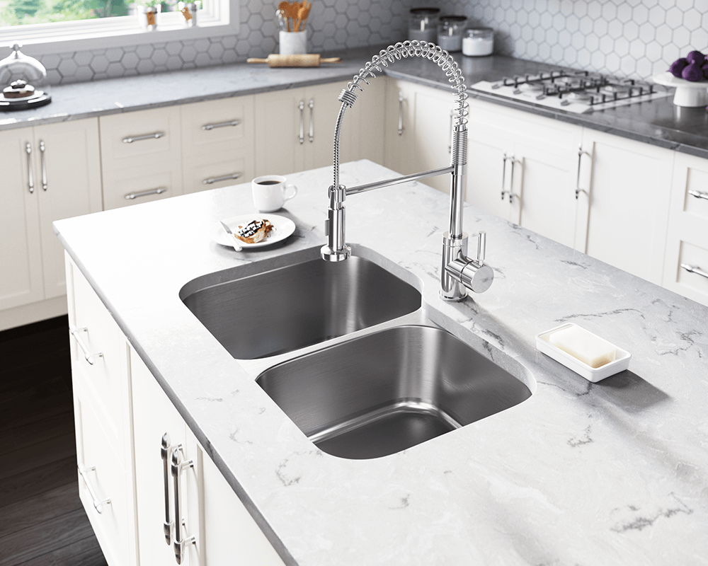 US1053L Lifestyle Image: 300-Grade Stainless Steel Rectangle Undermount Two Bowls Kitchen Sink