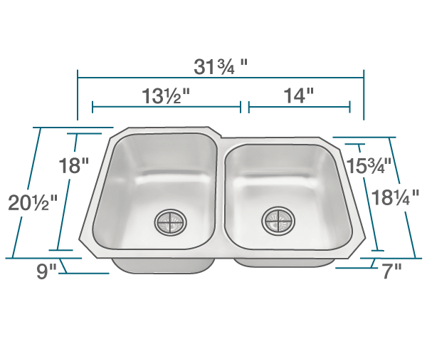 "The dimensions of US1053L Offset Stainless Steel Kitchen Sink is 31 3/4"" x 20 1/2"" x 9"". Its minimum cabinet size is 33""."