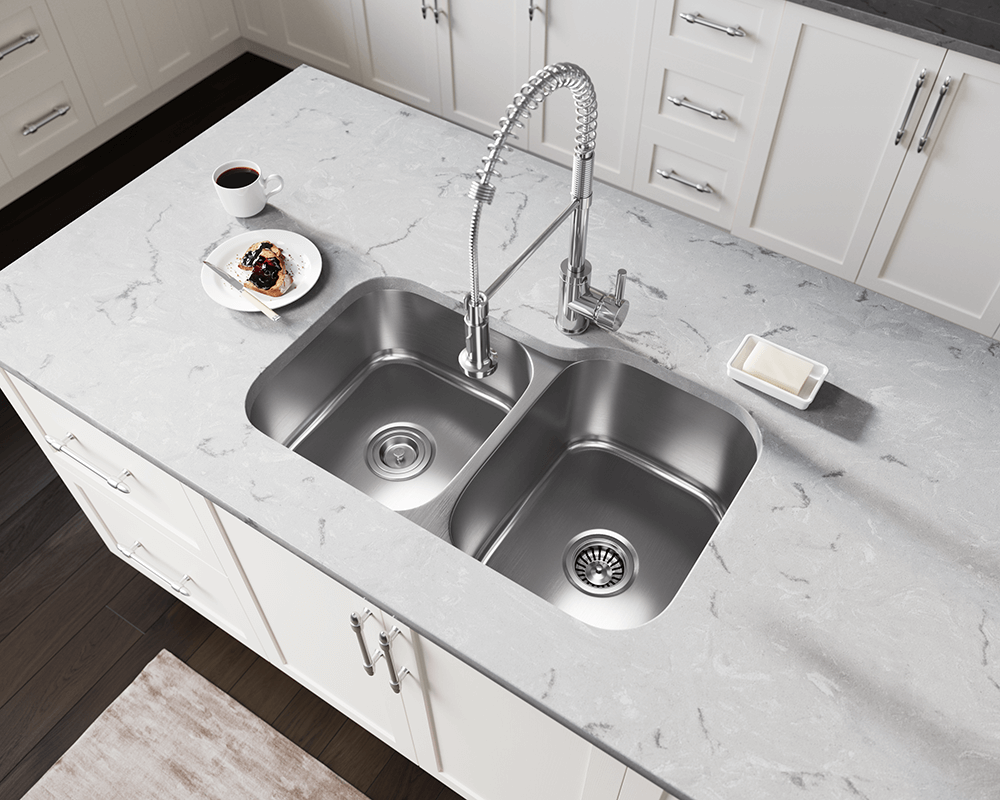 US1053R Lifestyle Image: 300-Grade Stainless Steel Rectangle Two Bowls Undermount Kitchen Sink