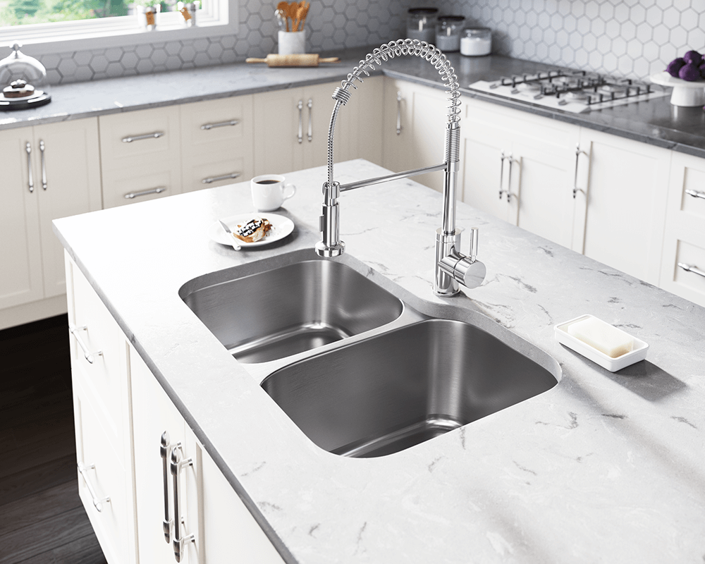 US1053R Lifestyle Image: 300-Grade Stainless Steel Rectangle Undermount Two Bowls Kitchen Sink